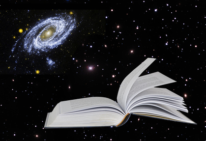 book on star background.Elements of this image furnished by NASA